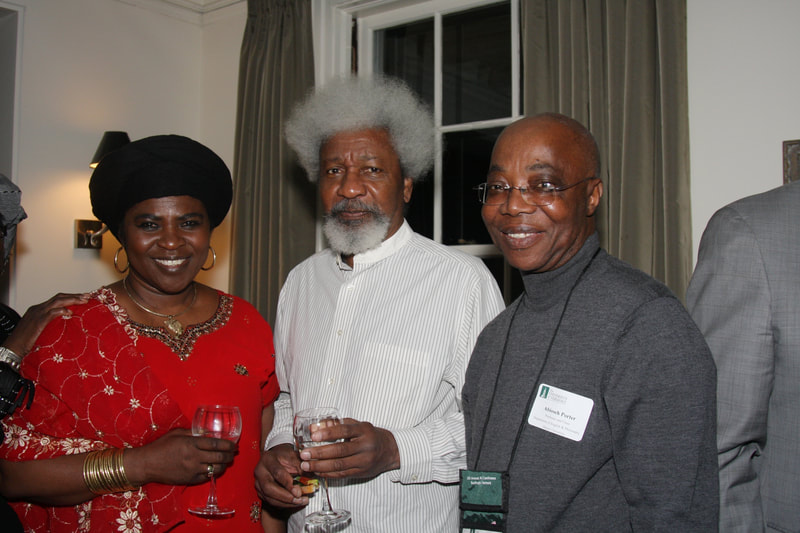 Tess Onwueme with Nobel Laureate Wole Soyinka and Abioseh Porter following her award of the Fonlon-Nichols Prize in Literature, Vermont, USA, 2009.